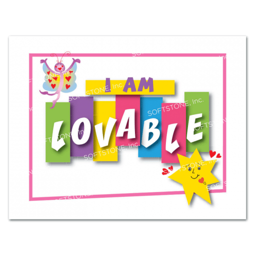 Affirmation Poster, I Am Lovable